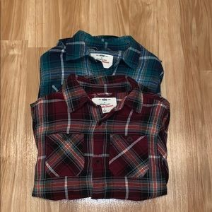2 flannel shirts